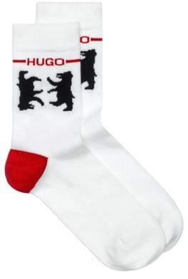 HUGO Cotton-blend short socks with bear motif