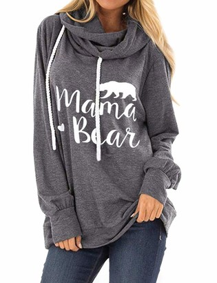 FromNlife Women Mama Bear Letter Bear Graphic Hoodie Cowl Neck Sweatshirts Tops