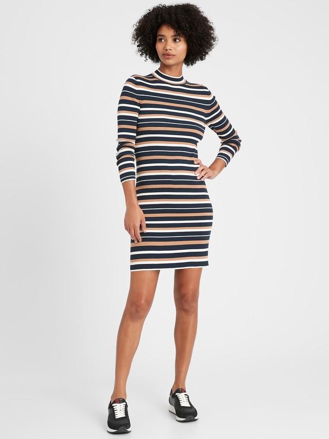 Petite Stretch Cotton Turtleneck Sweater Dress