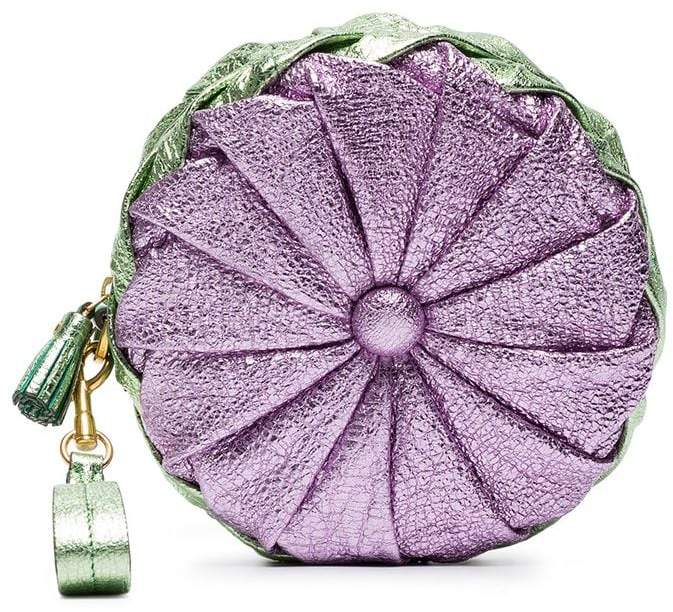 Anya Hindmarch Purple and Green Metallic Pillow Leather Clutch