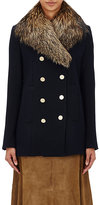 Theory Women's Belmore Fox-Fur-Collar Coat-NAVY, BLUE