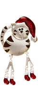 Carole Silvertone & White Holiday Cat Pin