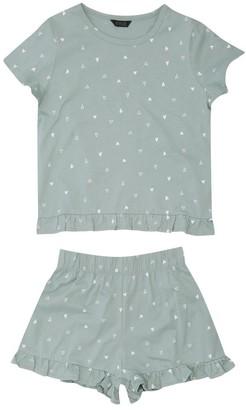 M&Co Teen heart print frill pyjamas