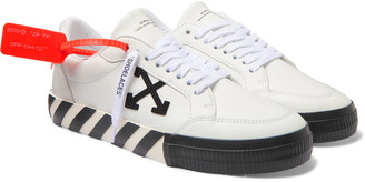 Off-White Logo-Appliqued Full-Grain Leather Sneakers