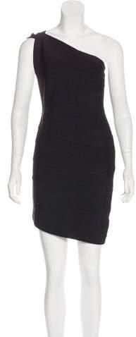 Herve Leger One-Shoulder Bandage Dress