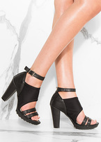Missy Empire Mela Black Cut Out Detail Strap Heels