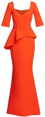 Safiyaa V-neck Peplum Waist Gown