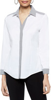 Misook Button-Down Stretch-Cotton Shirt with Striped Trim