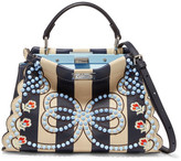 Fendi Peekaboo Mini Embellished Striped Leather Shoulder Bag - Navy