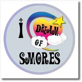 3dRose LLC ht_166141_2 Dooni Designs Dreamer Dreaming Of Designs - Cute Girly Heart Star Clouds I Dream Of Smores - Iron on Heat Transfers - 6x6 Iron on Heat Transfer for White Material