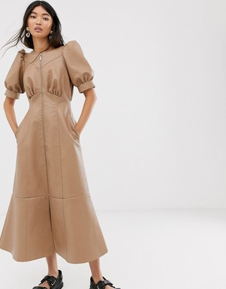 ASOS DESIGN leather look puff sleeve zip through midi dress in stone