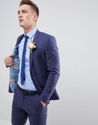 Asos DESIGN wedding super skinny suit jacket in indigo linen