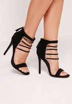 Missguided Strappy Elastic Barely There Heeled Sandals Black