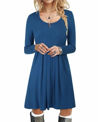 STYLEWORD Women's Round Neck Solid Color Long Sleeve T Shirt Dresses Pleated Loose Swing Casual Midi Dress Knee Length (Gray L)