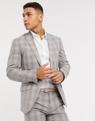 Jack and Jones super slim fit check suit jacket in gray