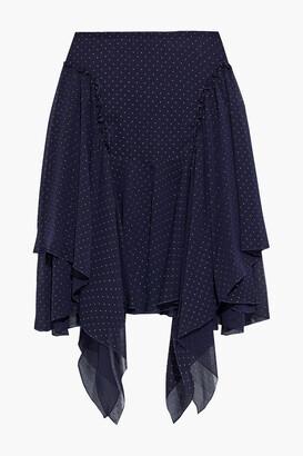 See by Chloe Asymmetric Metallic Polka-dot Crinkled-chiffon Mini Skirt