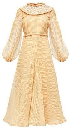 Fendi Lattice-panel Gingham Silk-organza Dress - Yellow Print
