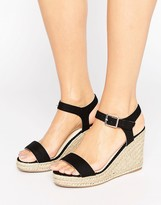 Pieces Halloumi Black Espadrille Wedge Sandals