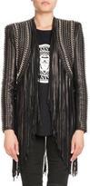 Balmain Crop Grommets Lamb Leather Jacket w/ Long Fringe Trim