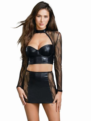 Dreamgirl Women's Faux Leather and Lace Crop Top with High Waist Skirt Set