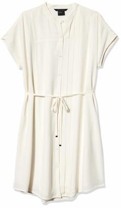 A|X Armani Exchange Women's Crew Neck Waist Tie Button Up Above The Knee Dress