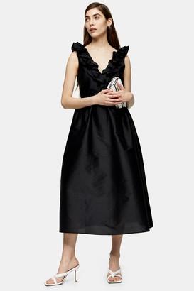 Topshop Womens Black Taffeta Bow Back Midi Dress - Black
