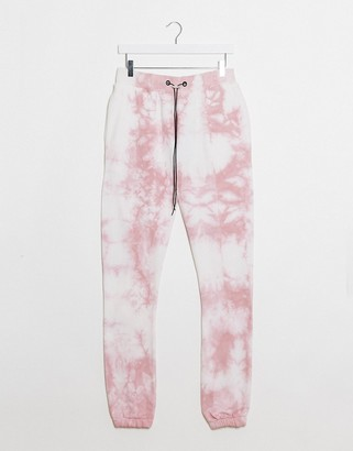 Night Addict sweatpants two-piece in pink tie dye
