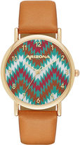 Arizona Womens Gold Tone Chevron Dial Brown Strap Watch