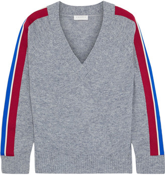 Sandro Briona Striped Melange Wool-blend Sweater