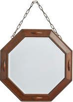 Rejuvenation English Octagonal Mirror w/ Beveled Oak Frame