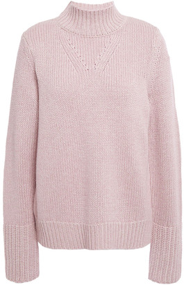 Elie Tahari Pointelle-trimmed Metallic Knitted Sweater