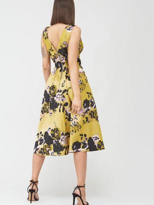 Little Mistress Floral Midi Jacquard Dress - Multi