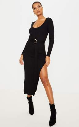 PrettyLittleThing Black Long Sleeve Belted Knit Rib Dress