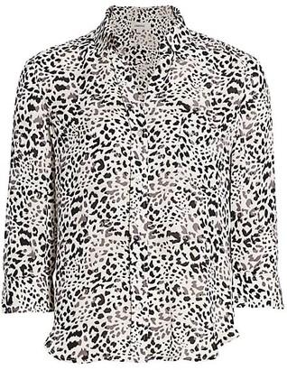 L'Agence Ryan Cheetah Print Silk Blouse
