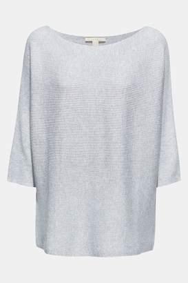 Esprit Womens Grey Metallic 3/4 Sleeve Sweater - Grey