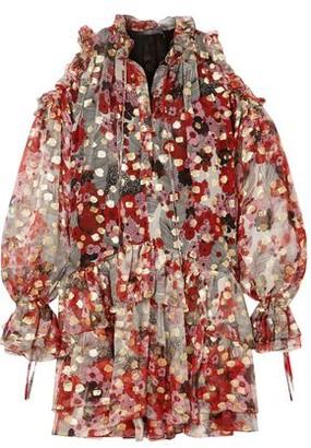 Alexander McQueen Cold-shoulder Metallic Fil Coupe Silk-blend Chiffon Mini Dress