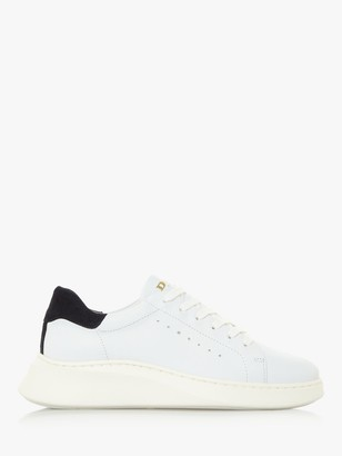 Dune Evia Leather Lace Up Trainers, White
