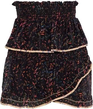IRO Jully Tiered Printed Silk Crepe De Chine Mini Skirt