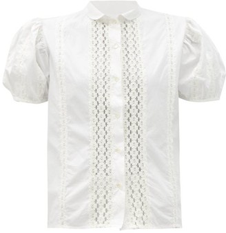 Thierry Colson Vike Floral Lace-trimmed Puff-sleeve Cotton Blouse - White/ivory