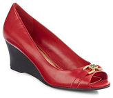 Lauren Ralph Lauren Paula Leather Open-Toe Wedges