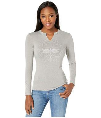 Life is Good Dragonfly Calling Long Sleeve Favorite Split-Neck Tee