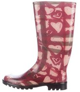 Burberry Painted Heart Check Rain Boots
