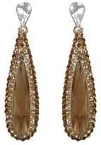 Ever Faith Teardrop Leaf Dangle Earrings Topaz Color Austrian Crystal N01087-8