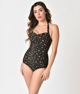 Esther Williams Vintage 1950s Style Black Floral Swimsuit