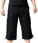 SiYang Man Cargo Shorts for Men Elastic Waist Multi-Pocket Outdoor Wear(Belt Included)(,XL)