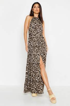 boohoo Woven Halter Neck Cut Out Extreme Split Maxi Dress
