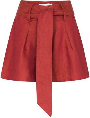 BONDI BORN Tie-Waist Linen Shorts