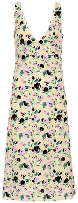 Plan C Floral-printed crepe midi dress