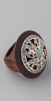 Gara Danielle Wood Ring with Turquoise Stone