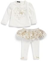Kate Mack Infant Girl's Embroidered Top & Skirted Leggings Set